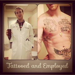 Think twice before you judge (Support Tattoos + Piercings at Work) Tags: work character staff doctor nurse employee scrubs tattooed chesttattoo workethic tattooedman workplacediscrimination tattooedandemployed tattooedemployee tattooedstaff