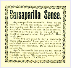 1997 January  IT CURES!  Ayers' Sarsaparilla -  'Sarsaparilla Sense.' (carlylehold) Tags: opportunity history robert st mobile louis email here smartphone join stories tmobile happens signup haefner solavei haefnerwirelessgmailcom
