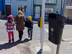 a day out (watcher330) Tags: yellow children unionjack cardigan dustbin barleysaturday
