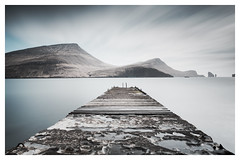 Step out (mike-mojopin) Tags: longexposure sea snow seascape mountains colour water pier snowcapped faroeislands hillls vgar bur