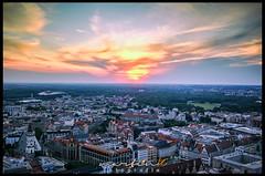 Sundown at Panorama Tower Leipzig (Krueger_Martin) Tags: sky tower skyline architecture clouds colorful sonnenuntergang view sundown himmel wolken leipzig architektur blick farbig hdr bunt cityhochhaus photomatix festbrennweite primelense canoneos5dmarkii panoramatowerleipzig canoneos5dmark2 canonef40mmf28stm