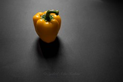 Yellow bell pepper (Syahrel Azha Hashim) Tags: light shadow food detail colors vegetables yellow 35mm prime lowlight colorful dof sony details naturallight nopeople negativespace malaysia handheld peppers produce shallow veggie minimalism simple capsicums bellpeppers a7ii colorimage selectivecoloring sonya7 syahrel ilce7m2
