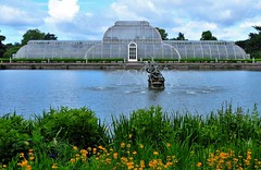 Kew RBG Palm House and Lake (standhisround) Tags: uk flowers kewgardens lake london water fountain glass statue kew architecture buildings iron victorian palmhouse royalbotanicgardens rbg