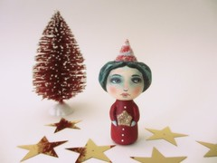 christmas bandit kokeshi doll (amber leilani) Tags: cute fun kawaii kokeshi woodpegdoll christmasbandit kokehidoll peppermintbandit