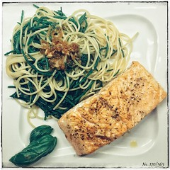 Lachs mit Salicorne-Spaghetti