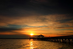 As Sunrise ... (WaleOs) Tags: ocean park travel bridge light sea sky orange usa sun seascape beach nature water silhouette sunrise canon landscape star bay pier mygearandme ringexcellence dblringexcellence tplringexcellence eltringexcellence