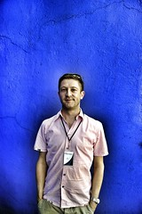 Press pass (StartTheDay) Tags: travel blue light holiday man color colour male wall shirt self mexico mexicocity colorful bleu photograph safe colourful amateur hombre homme mec ciudaddemxico 2011 alpha500