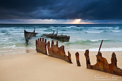 dicky beach (Pawel Papis Photography) Tags: ocean old sea sky cloud seascape color abandoned beach broken nature water metal sunrise dawn coast twilight sand rust waves ship steel wave australia vessel shipwreck shore queensland wreck damaged dicky