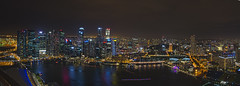 Singapore Nightscape during i Light Marina Bay (Wang Guowen (gw.wang)) Tags: longexposure panorama singapore nightscape esplanade merlion mbs singaporeriver marinabaysands marinabayfinancialcentre ilightmarinabay marinaskypark gwwang wwwon9cloudcom