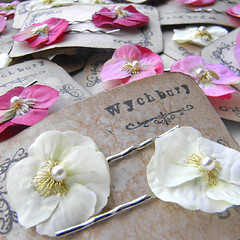 Little Violas pink and white (Wychbury Designs) Tags: pink wedding white pin handmade embroidery sewing pansy clip fabric bobby etsy bridal viola folksy haire heartsease