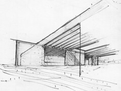 Brick and concrete house / Sketch