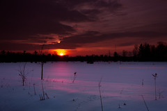 Red Sky at Morning... (Thousand Word Images by Dustin Abbott) Tags: winter snow ontario canada sunrise pembroke dawn hdr petawawa alienskinexposure canoneos60d canonefs1585mmf3556is adobephotoshopcs5 thousandwordimages adobelightroom4