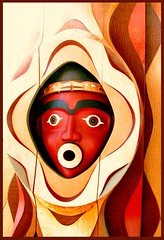 Oh! (Marcia Portess) Tags: wood red sculpture art carved arte faces carving oh woodcarvings indigenousart vancouverbccanada kartpostal pacificnorthwestcoastart marciaportess vancouverinternationalairportart