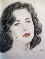 A young beauty with a facial mole: Liz Taylor (fitzjim) Tags: portrait woman hot sexy art beauty television closeup female giant movie children book tv artist aids married photos drawing gorgeous blueeyes young rollerderby books jewelry mickeyrooney actress michaeljackson redlips youthful lovely elegant mole fatherofthebride cleopatra soapopera ashwednesday richardburton beautymark academyaward generalhospital divorced childstar colorpencils elizabethtaylor bestactress liztaylor thetamingoftheshrew catonahottinroof whosafraidofvirginiawoolf allmychildren theflintstones roddymcdowall lassiecomehome thebluebird aplaceinthesun whosafraidofvirginiawolf thesandpiper butterfield8 soapoperas eddiefisher jimfitzpatrick nationalvelvet aidsresearch sanfranciscobaybombers leadinglady americanfoundationforaidsresearch sfbaybombers academyawardforbestactress hollywoodsgoldenage facialmole moleoncheek