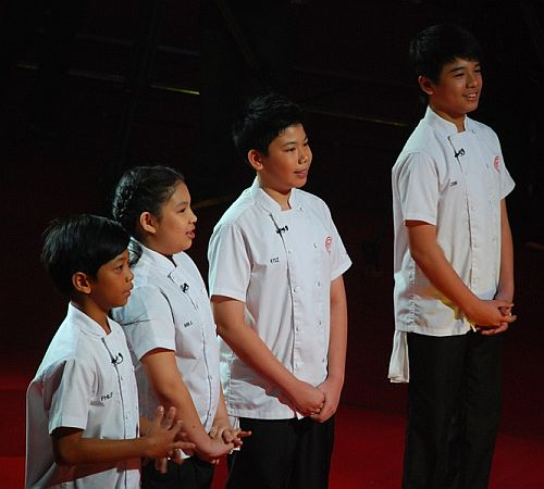 The Final Four kiddie cooks Philip, Mika, Kyle, and Jobim at the Junior MasterChef Pinoy Edition The Live Cook-off