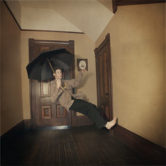 The Lost Boy (michaelnightmare) Tags: umbrella vintage gothic floating levitation retro oldhouse workshop macabre nightmarephotography michaelnightmare brookeshaden