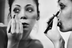 later (mickiky) Tags: woman selfportrait me myself mirror blackwhite donna autoritratto remotecontrol ritratto biancoenero autoscatto specchio