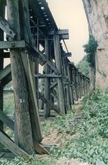 Thailand - Burma Railway - Kra Sae trestle (railasia) Tags: trestle detail thailand infra nineties kanchanaburi srt krasae burmarailway wangpho metergauge