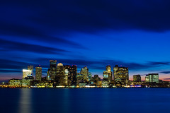 Downtown Boston (modenadude) Tags: boston massachusetts skyline downtown east clouds sky sunset shutter open night lights city coast bostonharbor water ocean buildings architecture scene blue light reflection clock historic eastbostonpierspark park gorillapod canon t2i 550d 1755 is usm f28 jeffriespoint