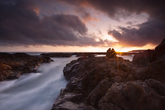 go with the flow (Andy Kennelly) Tags: ocean california sunset sun motion love beach wet water clouds flow couple rocks long exposure waves with view go rocky pelican flare clueless burst verdes rugged palos