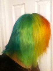 (Ty-Erin-Saurus Rex) Tags: portrait bluehair orangehair greenhair manicpanic yellowhair rainbowhair multicoloredhair iphoneography