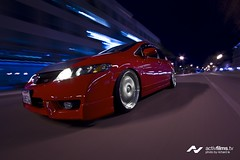 Roland's Honda Civic Part 1 (Richard.Le) Tags: california red motion night photoshop canon honda photography japanese action creative automotive adobe rig roland civic nightlife sacramento flush rolling tran jdm hella slammed lightroom hellaflush