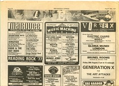 NME live ads page (part 1) – 20 August 1977 (Paul-M-Wright) Tags: uk england music london rock paper marquee punk live swindon punkrocker gigs 70s punkrock concerts 1970s 1977 venue seventies nme marqueeclub newwave thevortex adverts elviscostello ultravox punkbands boomtownrats generationx johnotway musicmachine sham69 eddiethehotrods punkrockers thespeakeasy brunelrooms newmusicalexpress musicpaper 70spunk theadverts theroxyclub thenashville