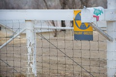 a fence, a fish and a fallout shelter (bytegirl24) Tags: fish newmexico sign mailbox fence falloutshelter cimarron hff happyfencefriday