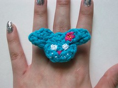 Blue Bunny Crochet Ring (Mooy) Tags: cute animal shop handmade crochet jewelry rings kawaii etsy mooeyandfriends