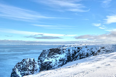 Nordkapp (Daniel J. Mueller) Tags: blue sea snow water norway clouds rocks baltic hdr nordkapp 7xp d3s