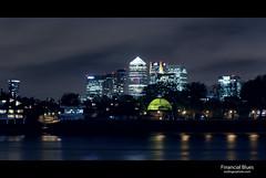 Financial Blues (esslingerphoto.com (back in London)) Tags: england canada london glass thames skyline architecture night skyscraper canon buildings river square photography lights one exposure district greenwich blues tunnel business single software dome 5d nik canarywharf financial mkii esslingerphotocom