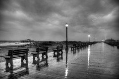 Waiting for the Storm (Moniza*) Tags: ocean sea sky seascape storm beach nature water rain club night clouds landscape pier newjersey twilight fishing sand nikon waves hurricane nj shore jersey boardwalk irene bluehour jerseyshore oceangrove d90 moniza
