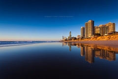 Gold Coast, Queensland - Australia (Robert Lang Photography) Tags: travel sea holiday color colour reflection building tourism beach water buildings fun seaside sand surf skyscrapers getaway stock aust