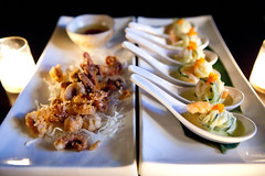 Appetizers - Fried baby octopus and Shrimp Bombs (thewanderingeater) Tags: nyc dinner manhattan tribeca kori koreancuisine korirestaurant