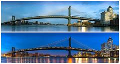 Manhattan Bridge and Clock Tower Condominium, Golden Hour and Blue Hour (John Cunniff) Tags: nyc newyorkcity bridge blue sky urban newyork clock water architecture brooklyn river manhattan clocktower manhattanbridge eastriver urbano bluehour goldenhour nuevayork urbain  brooklynbridgepark      ciudaddenuevayork