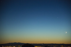 Moonset over Albuquerque New Mexico 5-7-16 (CaptDanger) Tags: blue moon newmexico stars cityscape dusk citylights mountians moonset cresentmoon beautifulskies newmexicoskies cityofalbuquerque newmexicolandscapes sunsetinnewmexico canon5dmarkiii sigma24105art osterholtzphotography photosbyalanosterholtz