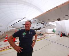 Launch prep photos of Solar Impulse with pilot Andr Borschberg (jurvetson) Tags: 2 solar hangar nasa ames andr pilot prep impulse borschberg