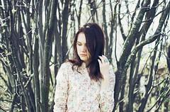 DSC_0039 (marievolkova) Tags: blue sun tree art floral girl dark hair photography 50mm spring nikon branches may blouse ring getty jewerly