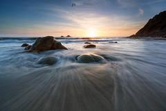 Tide (T_J_P) Tags: ocean sunset sea seascape beach nature movement rocks cornwall tide cliffs coastal coastline cotvalley porthnanven