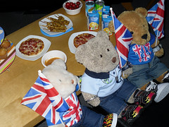 Eurovision Party 2016 (pefkosmad) Tags: bear uk party england music food ted toy ginger stuffed europe soft teddy drink unitedkingdom competition plush buffet nobby eurovision songcontest joeandjake bbc1 gingernutt nobbynomates tedricstudmuffin