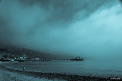 She's the breather of fog (.KiLTRo.) Tags: ocean california sea sky beach water fog pier unitedstates malibu kiltro