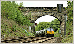 Peek-a-boo (david.hayes77) Tags: bridge peekaboo lancashire oil tug bitumen freight tanks chapellane 2016 colas hoghton class60 60047 6e32
