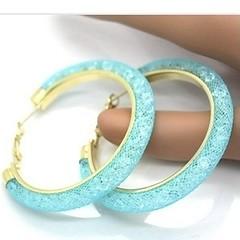 18k Gold Swarovski Aqua Earrings (SilverMoonBay) Tags: gold aqua shine crystal sale sparkle trendy swarovski earrings hoops shimmer opensky trendyjewelry discountjewelry affordablejewelry jewelrysales meshjewelry jewelryforless jewelrydeals