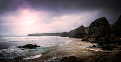 Bedruthan Steps (David Haughton) Tags: sea panorama seascape landscape coast cornwall tide low panoramic coastline bedruthan bedruthansteps