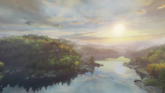 VOEC - 010 (Yousbob - Screenshotgraphy !) Tags: bridge sunset mountain lake game nature water colors contrast forest landscape ethan steam gaming carter concept vanishing beautifull