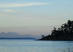 Layers of land between sea and sky (Ruth and Dave) Tags: ocean trees sea sky mountains weather clouds islands evening view horizon headlands gulfislands hazy mayneisland salishsea weatherphotography bennettbay