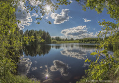 Sunny Summer Day (Jyrki Liikanen) Tags: summer water sunshine june reflections finland nikon outdoor fisheye serene lakeview sunbeams watercourse blueandwhite nikonphotography
