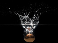 No eggs were hurt in the making of this photo (semgeerts) Tags: black water canon 50mm flash egg drop splash