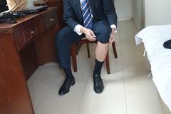 its time to adjust the sock (polmas2010) Tags: black sock shoes suit oxford murphy johnston goldtoe loafer captoe