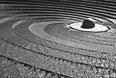 Go with the flow (juanpg) Tags: winter blackandwhite water fountain lines circle curves sydney australia step sphere invierno shape oceania